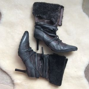 Diesel leather boots, heels